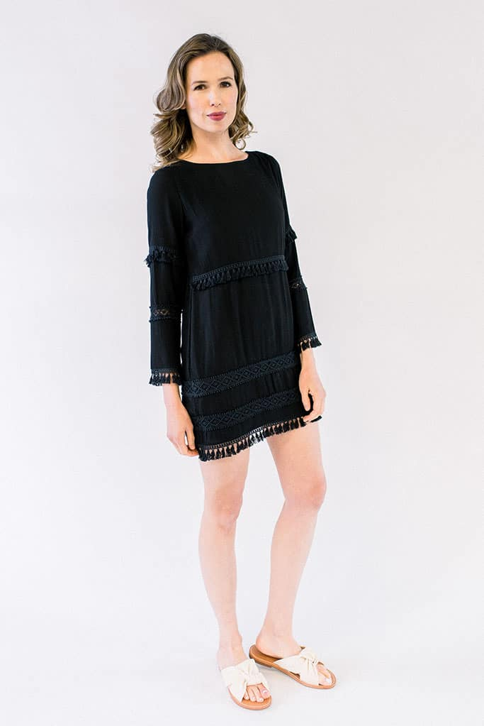 Clara Sleeveless Tassel Dress Black