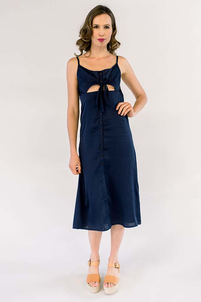 Stella Tie Midi Dress Navy