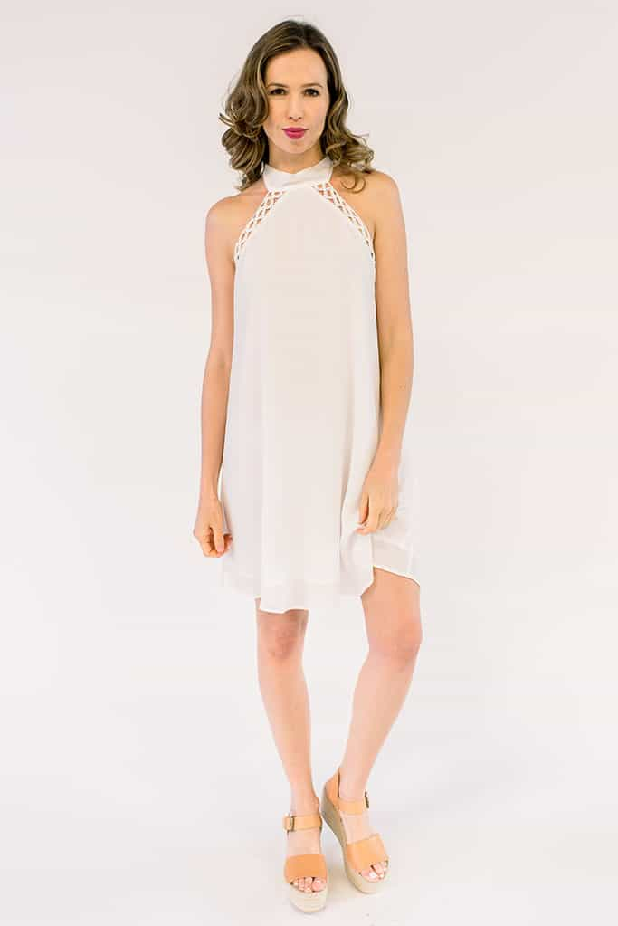 Charlotte White Halter Dress
