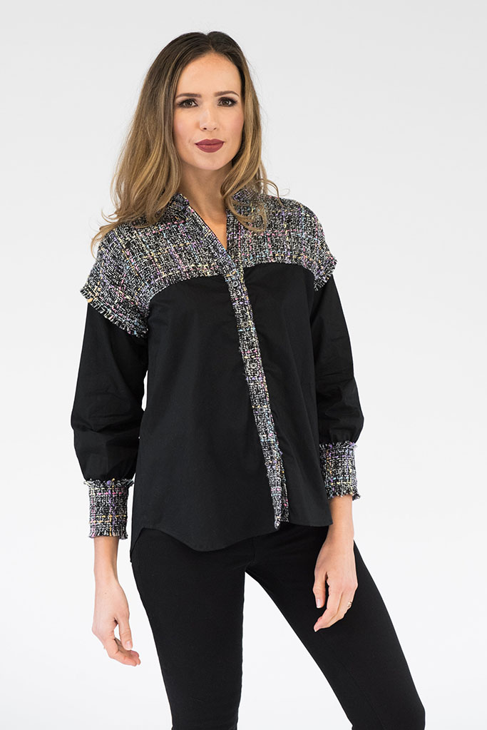 Reese Black Tweed Top